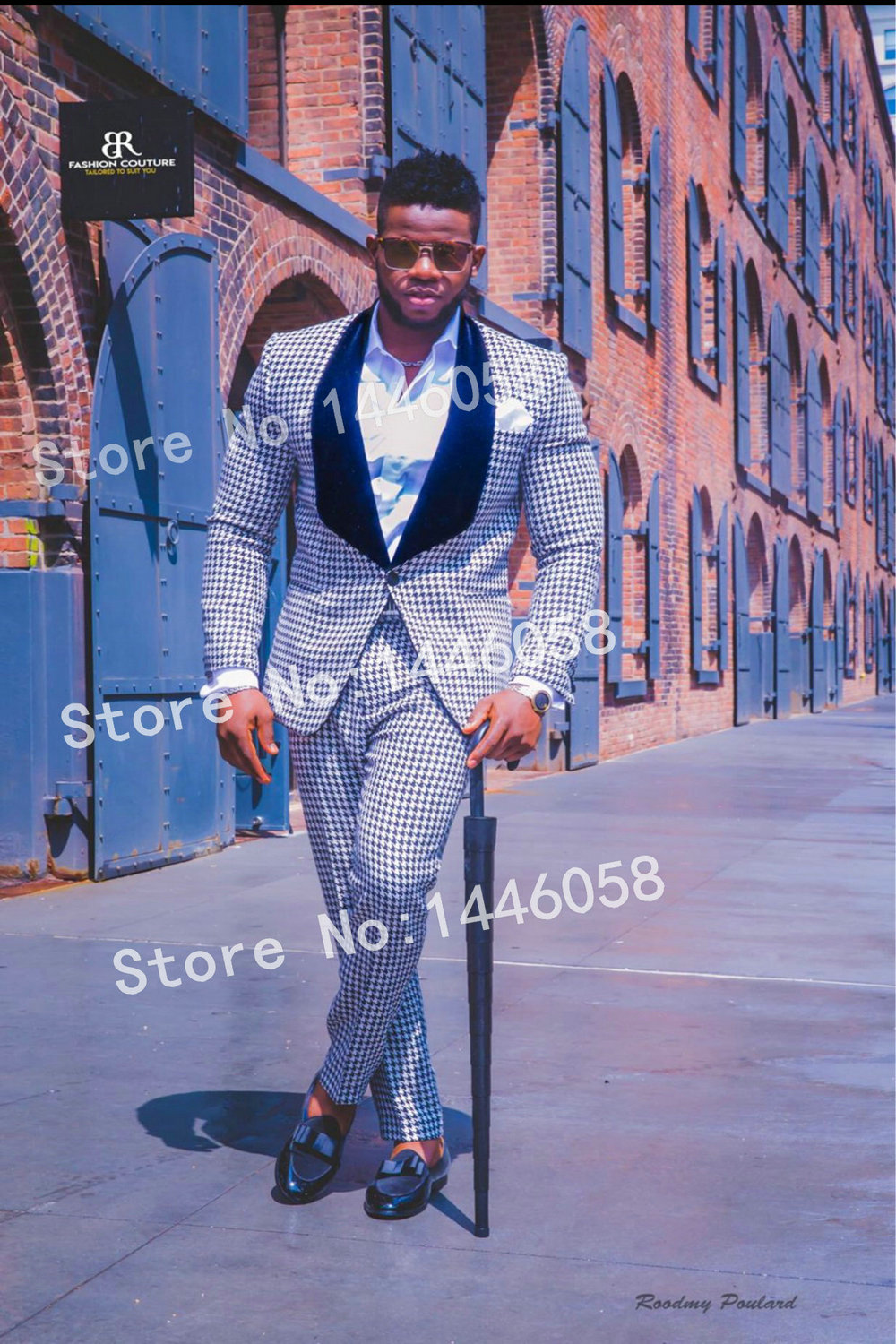 Elegant Design Suit 2018 Morning Dinner Party Prom Suit Houndstooth Groom Wedding Men Suit With Pants Slim Fit Tuxedo Bridegroom