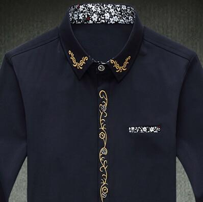 men shirt M- 7xl Slim solid color embroidery long sleeve shirts cotton shirt  mens casual