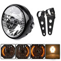 "Amber LED Round 7"" Motorcycle Headlight With Turn Signal For Harley Chopper Cafe Racer Bobber With Bracket"