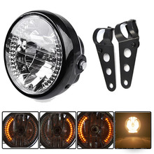 Amber LED Round 7″ Motorcycle Headlight With Turn Signal For Harley Chopper Cafe Racer Bobber With Bracket
