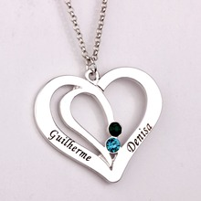 Engraved Couples Necklace with Birthstones 2016 New Arrival Long Necklaces for Men and Women YP2492