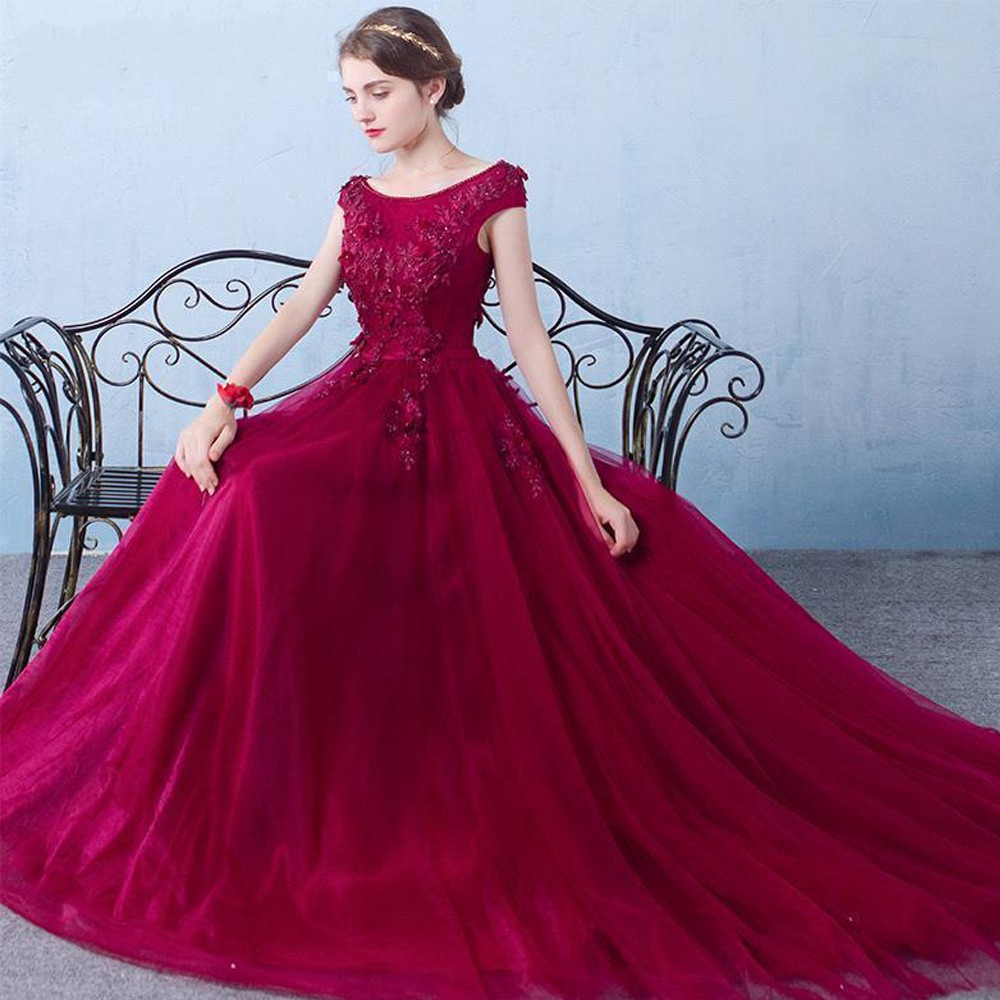 Robe de Soiree 3D Floral Print Long Burgundy Beaded Prom Dresses 2019 Tulle Formal Evening Dresses Party Gown