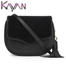 Newest Genuine Leather Villus Saddle Bag Fashion Women Tassel Shoulder Bag Crossbody Bag Small Flap Bag for Female