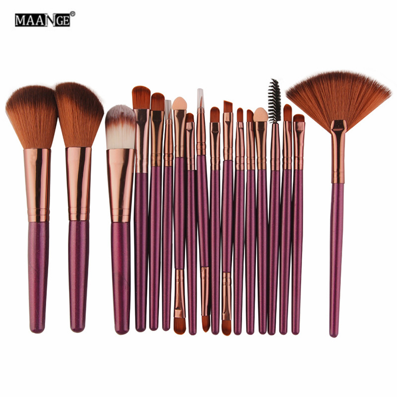 MAANGE 15/18 Pcs Professional Makeup Brushes Set Comestic Powder Foundation Blush Eyeshadow Eyeliner Lip Make up Brush Tools