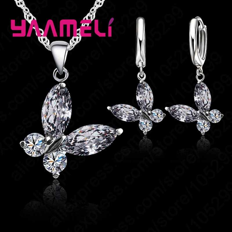 Animal Fashion Lovely Butterfly  Woman Favorite Jewelry Set Girlfriend Birthday Gift 925  Silver Necklace Earrings