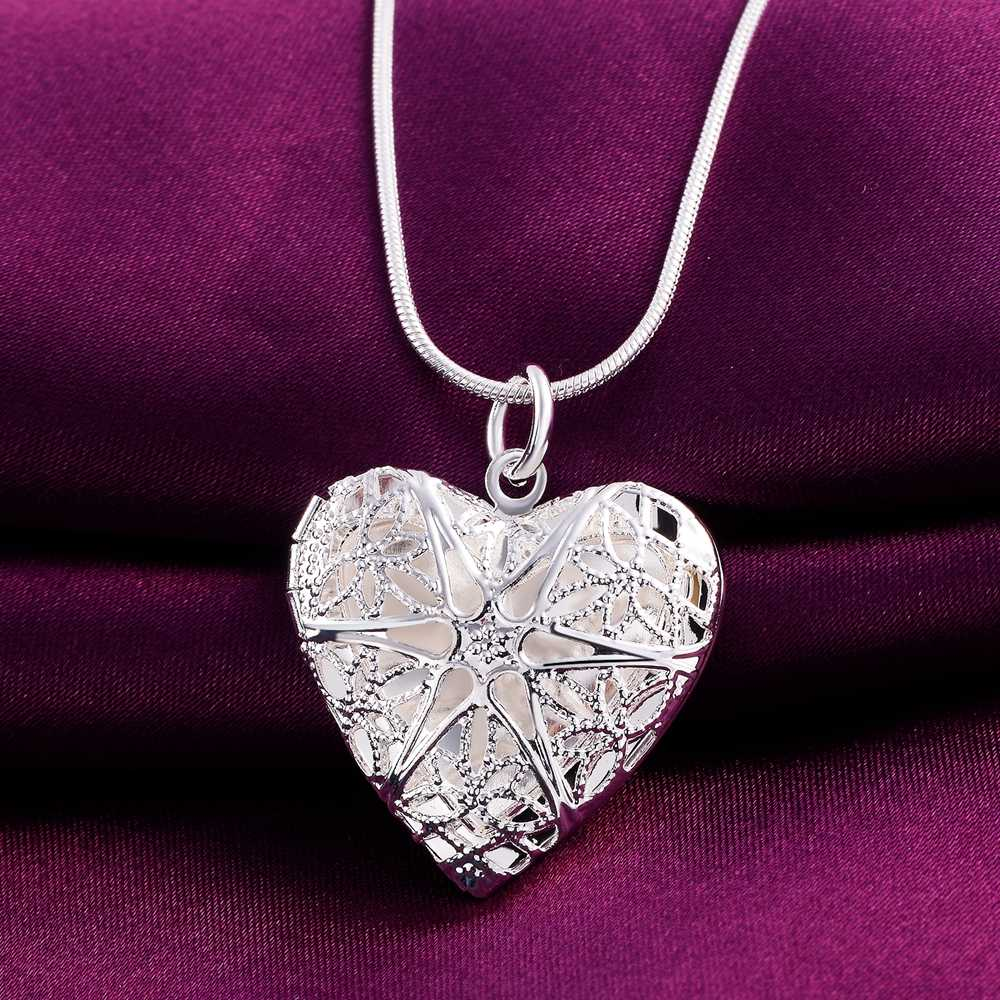 P185 Wholesale Free shipping elegant fashion silver color jewelry charm women noble heart  pendant necklace Kinsle