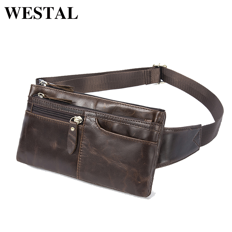 WESTAL Genuine Leather Waist Packs Fanny Pack Belt Bag Phone Pouch Bags Travel Waist Pack Male