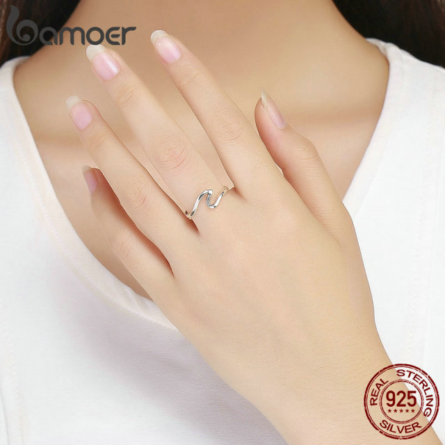 BAMOER Authentic 100% 925 Sterling Silver Geometric Wave Finger Rings for Women Wedding Engagement Jewelry Gift S925 SCR378 4