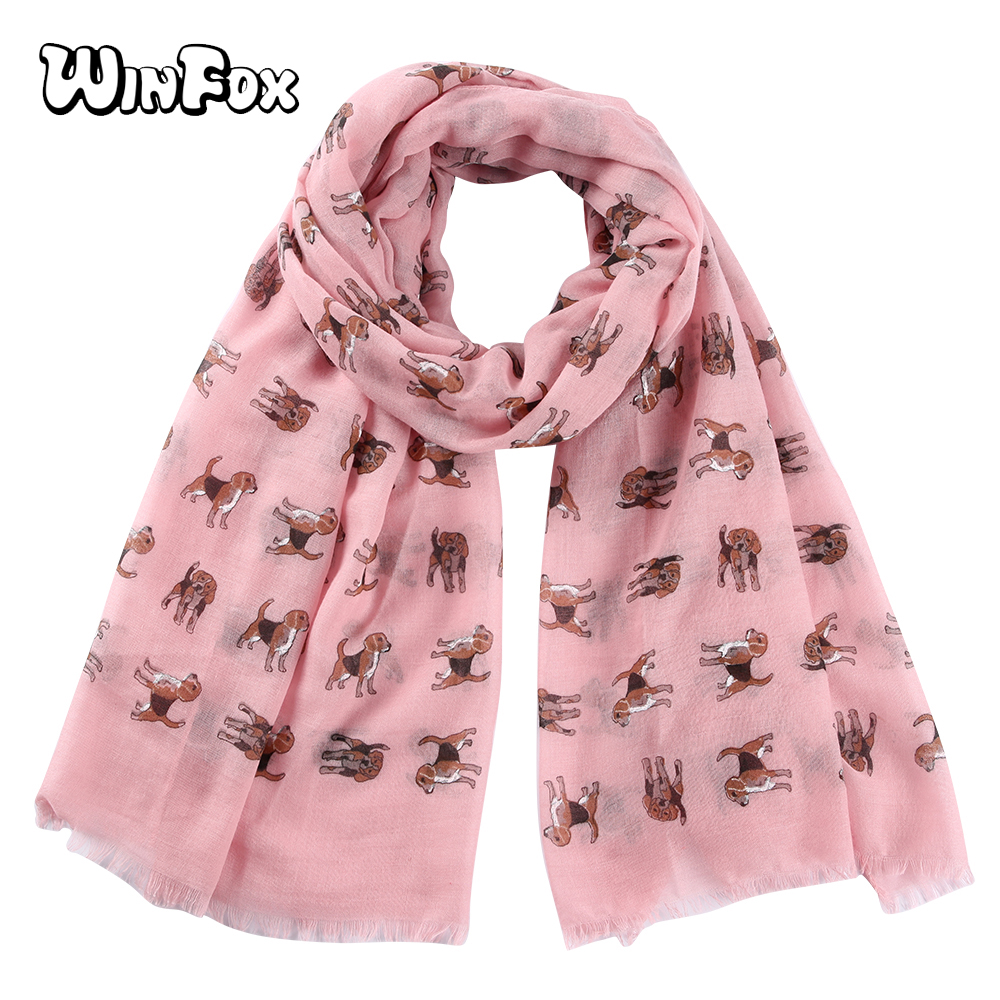 Winfox Fashion Pink White Women Lady Cartoon Dog   Scarf     Wrap   Shawl bufanda mujer   Scarf     Wrap