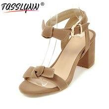 TASSLYNN 2019 Women Sandals Fashion Peep-toe Buckle Strap Shoes Elegant Flock Square High Heels Roman Size 34-43