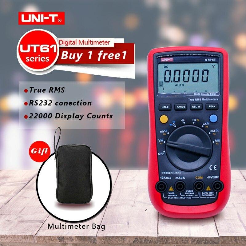 UNI-T UT61A UT61B UT61C UT61E Цифровой мультиметр true RMS RS232 интерфейс мультиметр Авто диапазон с ЖК-дисплей подсветка дисплея