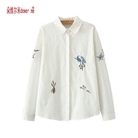 Plus Size 3XL Cotton Letter Embroidered Shirt Blouse White Black Flower Embroidery Women Blouses New Women