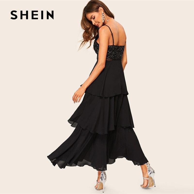 Image 2 - SHEIN Glamorous Black Layered Ruffle Rhinestone Cami Maxi Dress  2019 Spring A Line Sleeveless High Waist Spaghetti Strap  DressesDresses