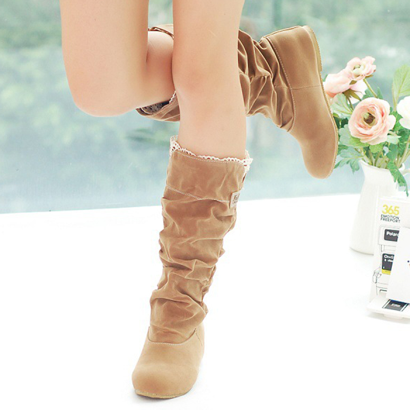 New Style Hot Autumn Winter Warm fashion shoes snow boots artificial leather pleated suede casual lace female mid-calf shoes new autumn winter warm women shoes snow boots square high heels artificial leather top casual female elastic band ankle shoes
