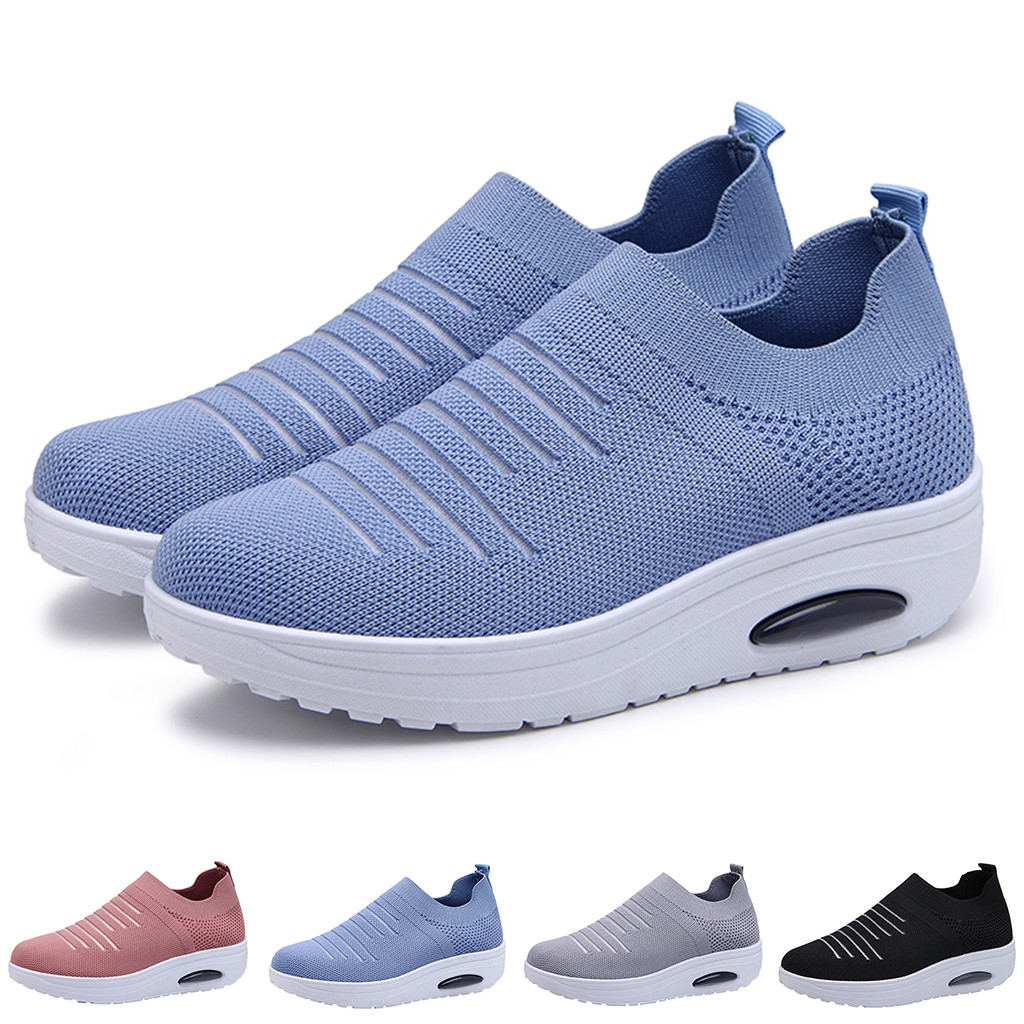 CHAMSGEND Women's Flying Woven Set foot cushion socks shoes casual mesh solid color non-slip breathable fashion wear sneakers