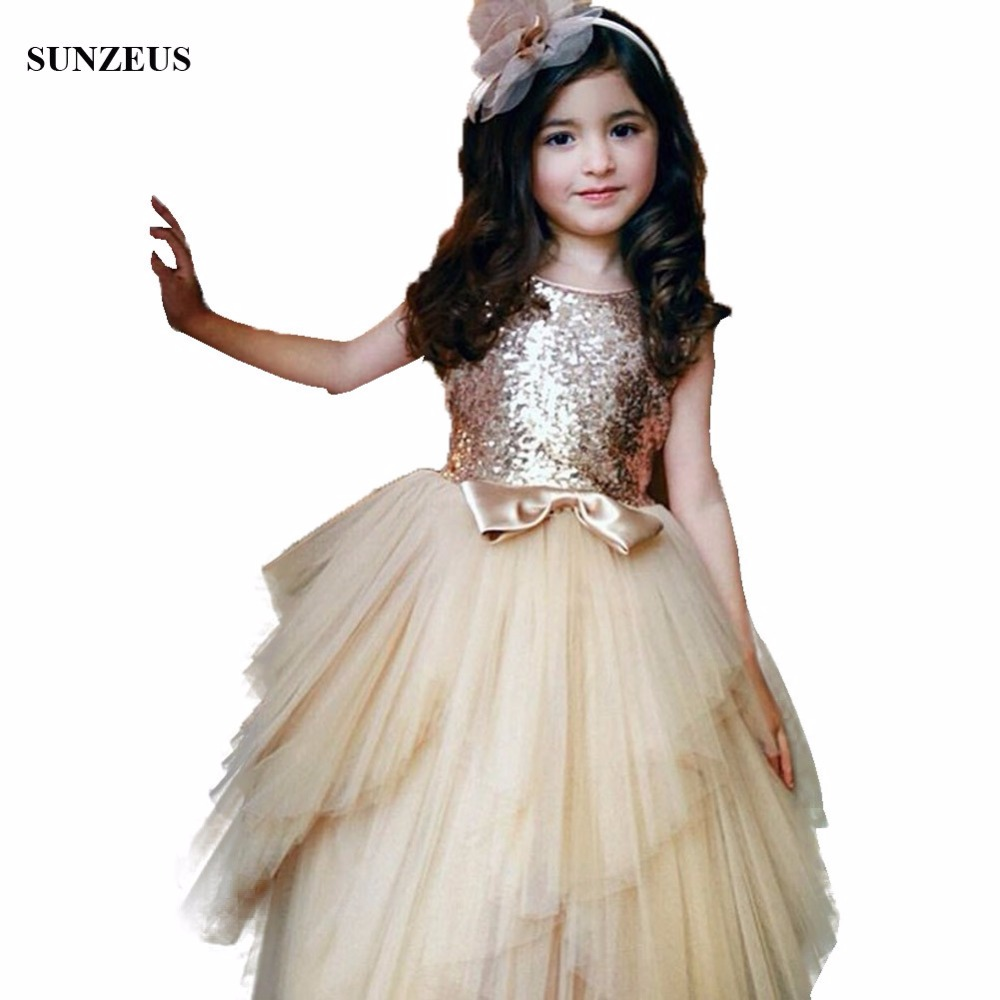 Sparkle Sequins Lace   Flower     Girl     Dress   Long Champagne   Girls   Party Gowns With Bow Free Shipping FLG069
