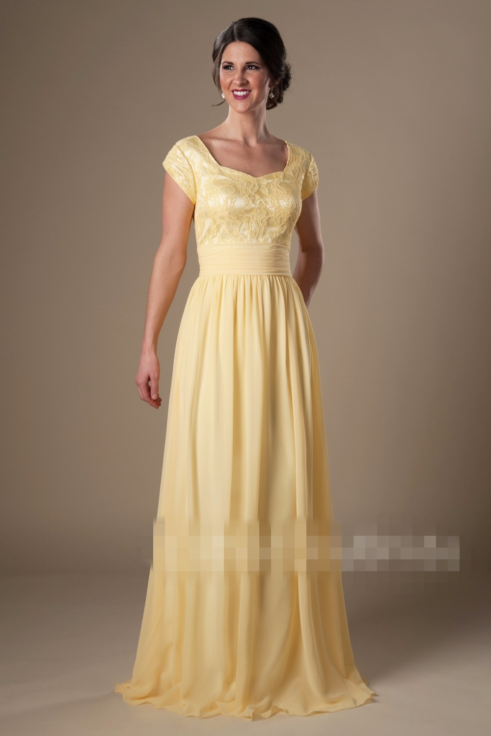 lace chiffon modest bridesmaid dresses long with cap