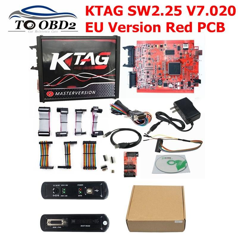 Neueste EU Rot ECM Titan KTAG V 2,25 V 7,020 4 LED Online Master Version ECU OBD2 Manager auto/ lkw Programmierer