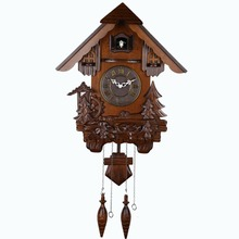 Large fashion vintage wall modern design cuckoo clock wood carving photoswitchable timekeeping children room kids gifts