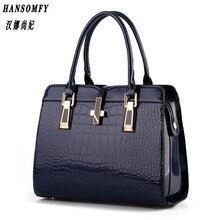 100% Genuine leather Women handbag 2017 New bright patent leather crocodile pattern fashion shoulder shoulder ladies bags