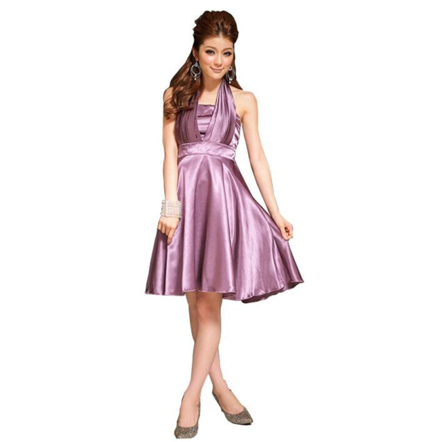 75a1a54dd92 Halter Knee-Length Satin Women Graduation Homecoming Dress A-line Summer Short  Dress Elastic