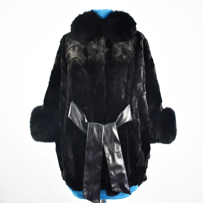 2018 new real pelliccia di visone cappotto giacca di pelliccia di volpe collare di alta qualità di modo cinghia del telaio delle donne della pelliccia naturale cappotto spesso caldo strada stile