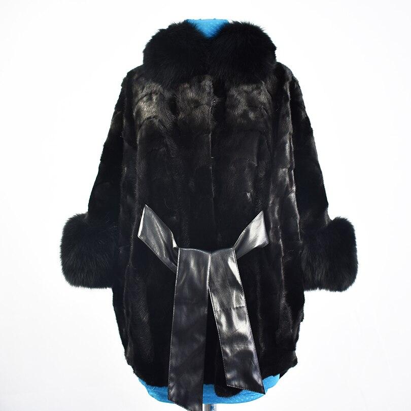 2018 nouvelle réel de fourrure de vison manteau veste renard col de fourrure haute qualité de mode sash ceinture femmes naturel fourrure manteau chaud épais rue style