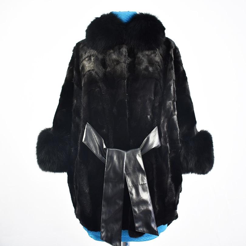 2018 nueva visón real abrigo de piel chaquetas Fox Cuello de piel de alta calidad cinturón marco de la moda las mujeres abrigo de piel natural gruesa estilo de la calle caliente