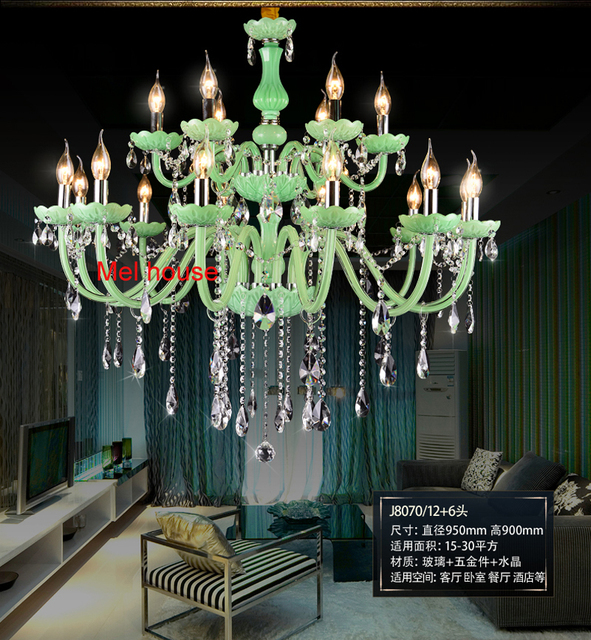 Green Crystal Chandelier Light Re Hanging Lamp Luminaria Home Decoration Large Loyal Imperial Luxury Chandeliers