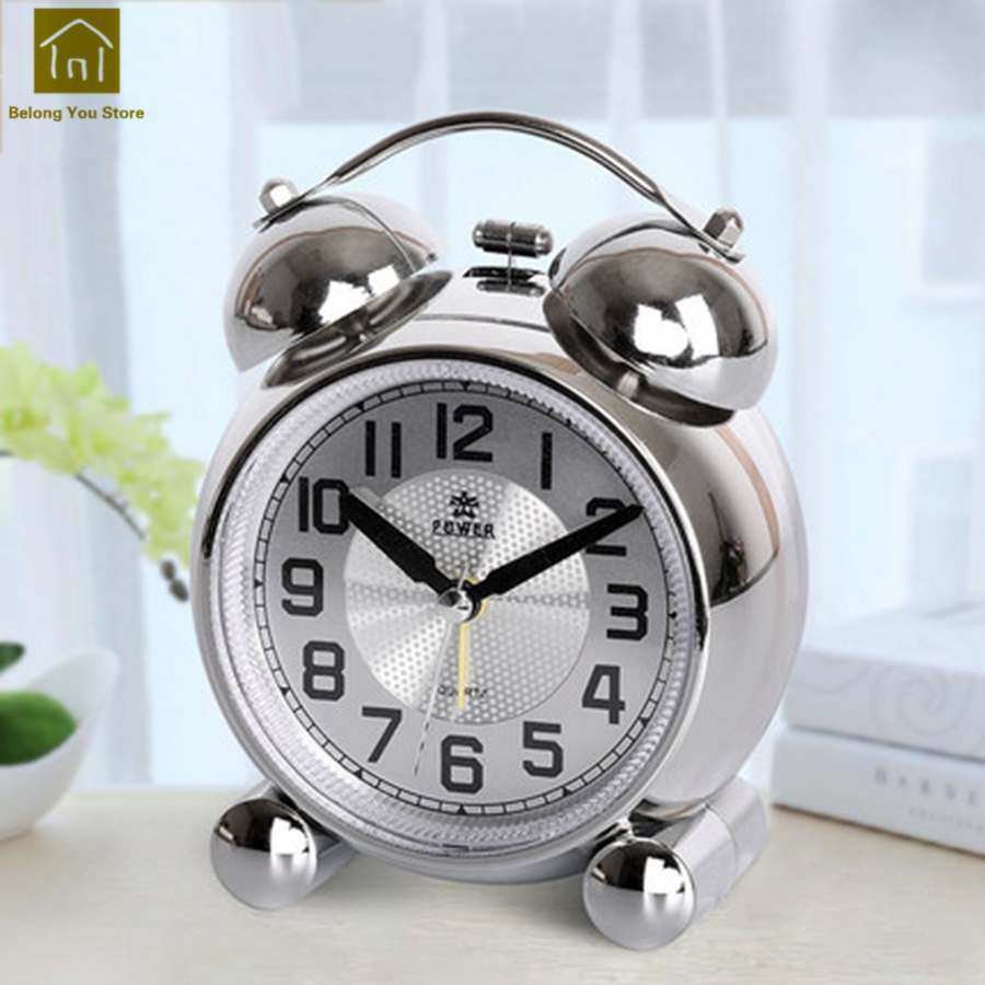 Small Night Light Alarm Clock Bells Music Snooze Kids Desk Talking Clocks Vibrating Mechanical Alarms Wekker Glow Clock WKJ044
