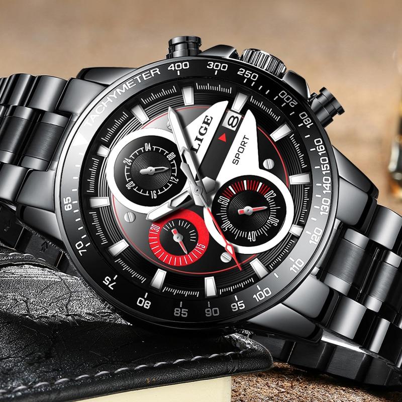 Lige mens 시계 비즈니스 패션 탑 럭셔리 브랜드 스포츠 쿼츠 시계 남성 캐주얼 방수 시계 relogio masculino + box-에서수정 시계부터 시계 의  그룹 2