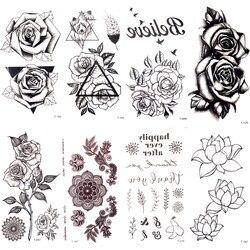 Черные треугольные розы Временные татуировки летние перья птицы татуировки наклейки женские вечерние водостойкое тату девушки Декорации ...
