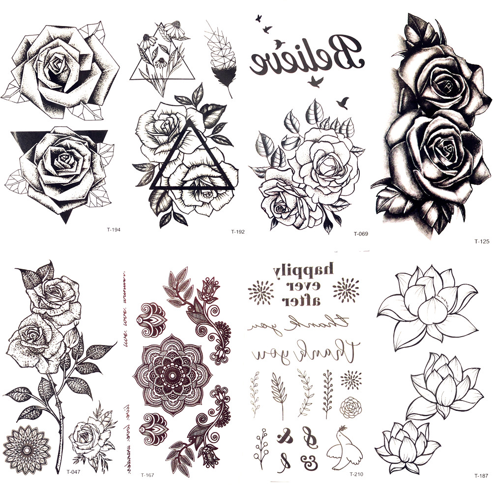 Black Triangle Rose Flower Temporary Tattoo Summer Feather Birds Tattoo Stickers Women Party Waterproof Tatto Girls Body Arm Art mens v neck button up cardigan