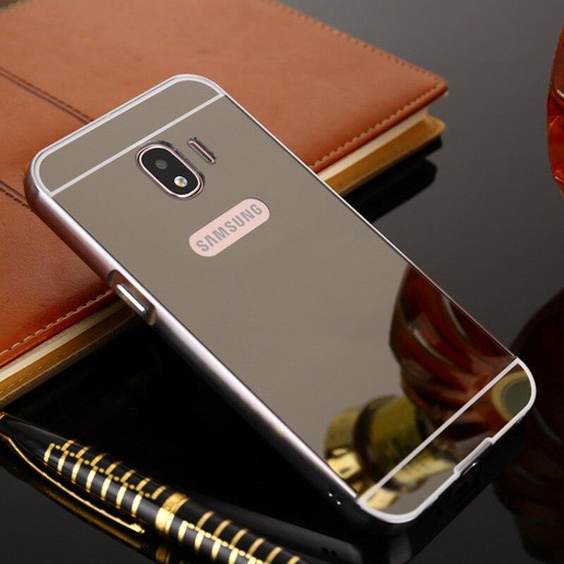 For Coque Samsung J2 2018 Case Aluminum Metal Frame Bumper Acrylic Back Mirror Case For Samsung Galaxy J2 Case J250F 2018 Cover