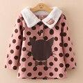 Meninas camisola de lã grossa gola de pele camisola de Kitty crianças camisola moda idade 3 - 10 2084