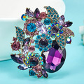 Royal Dark Blue Crystal Brooches Bijuterias Beautiful Women Christmas Brooch Bouquet Relogio Masculino  Vintage Flower Broches