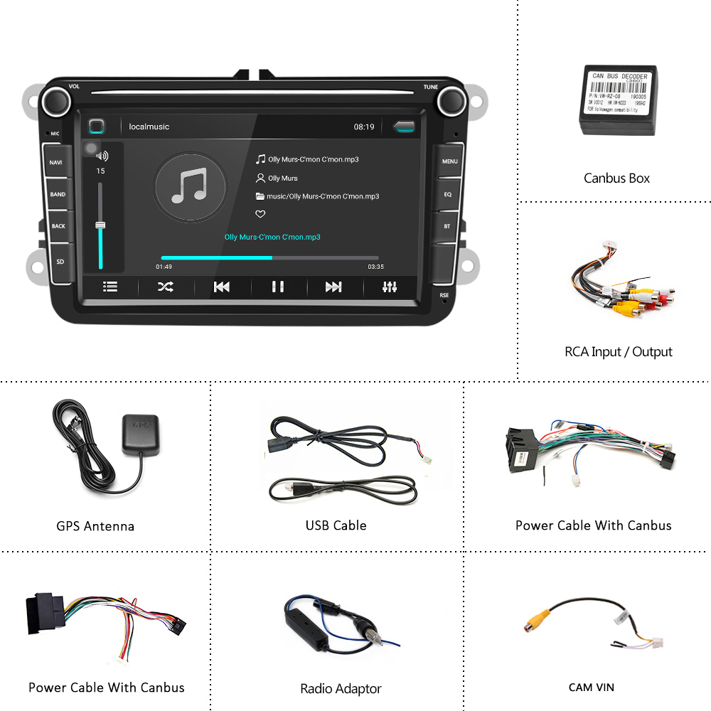 Camecho 2Din Car Radio Android 8.1 Car MP5 Multimedia Video Player GPS Auto Audio Stereo 8'' For Seat/Skoda/Passat/Golf/Polo