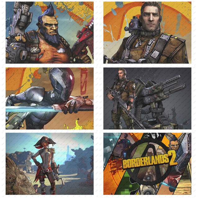 Borderlands Game Poster Decorative paintings Wall stickers White Kraft Poster