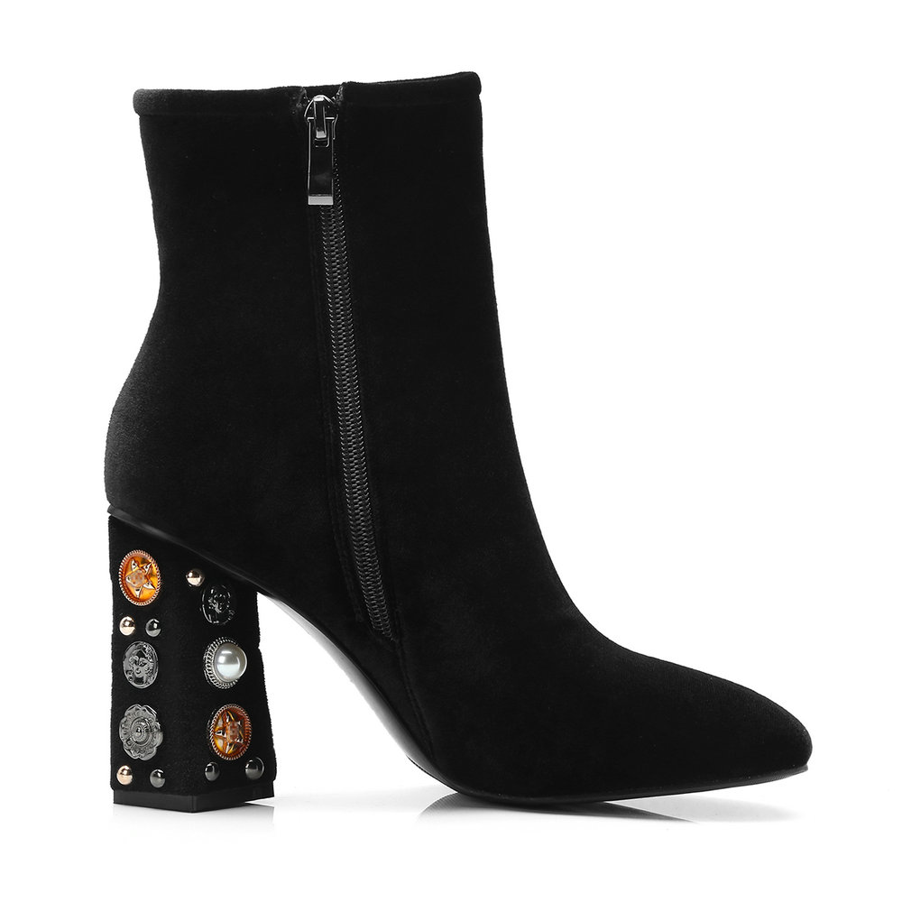 De La Aiweiyi Botas Tacón Alto Zapatos Piel redfur Seda Mujer Tobillo redpu Importada Plataforma Para Blackfur blackpu Cuadrado q55B4v