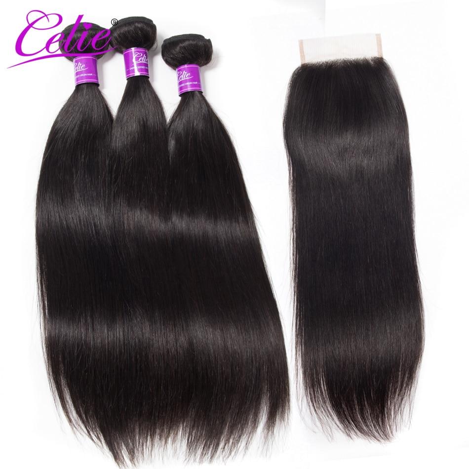 Celie Hair Peruvian Hair Bundles With Closure Straight Human Hair Extensions Bundle Deals Virgin Hair Bundles