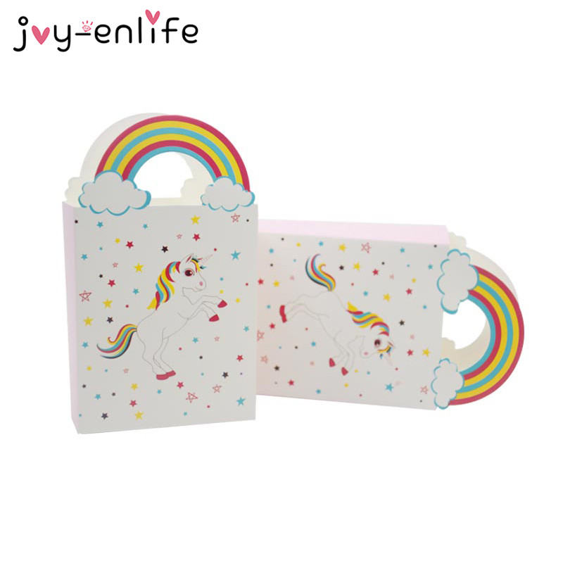 JOY-ENLIFE Unicorn Paper Gift Bags Candy Bag Unicorn Party Baby Shower Birthday Party Unicornio Aniversario Supplies 3x8x14cm