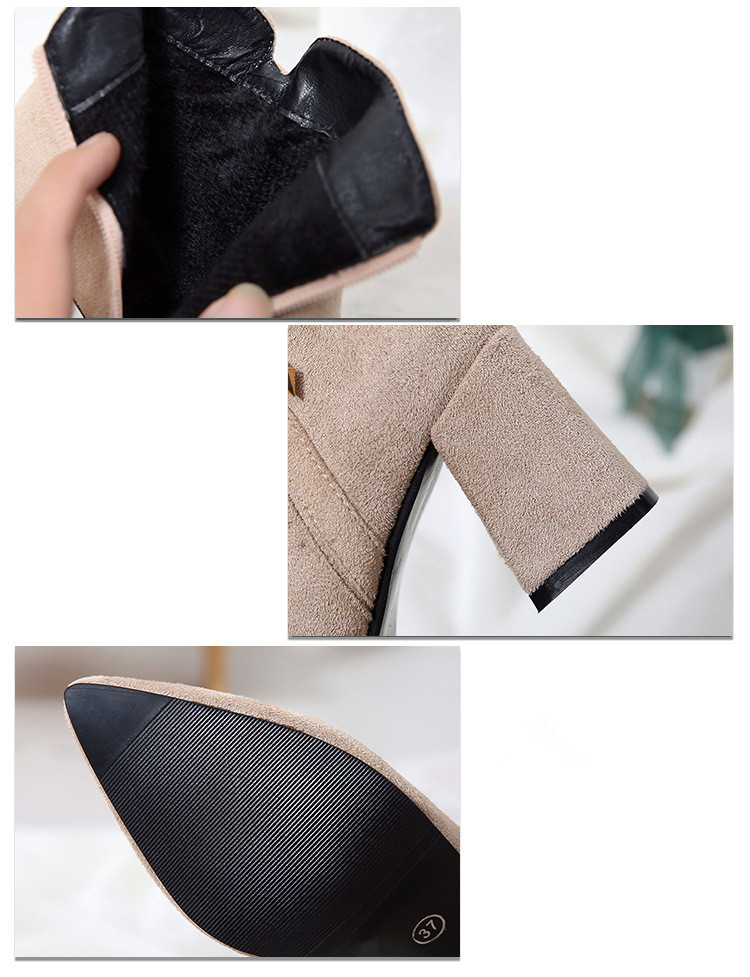 2019 Spring Autumn Women Boots New Fashion Casual Ladies Flock Short Boots Female Middle Heeled Boots M8D261 (5)