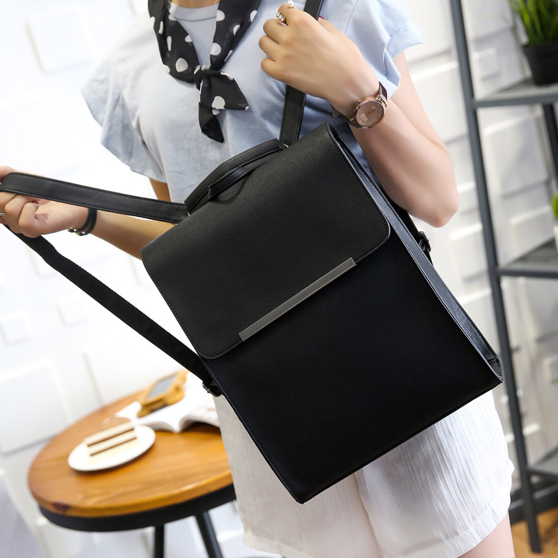купить PU leather Korean version of the large capacity of high school students tide women Japan simple shoulder bag travel backpack онлайн