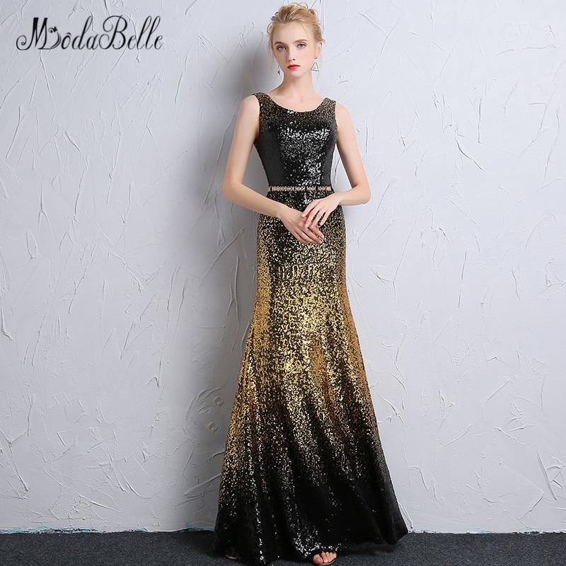 Modabelle Gradient Mermaid Black Gold Sequin Prom Dresses Black