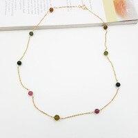 ЛИИ Ji естественный Ясно Радуга Турмалин около 4 5 мм, 925 серебро колье ожерелье около 46 см