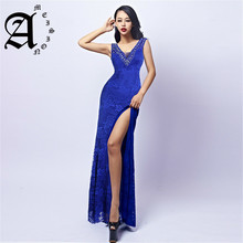 2019 Beading Sequined party Gown Elegant Crystal Lace sleeveless Formal Prom dresses High Split evening dress