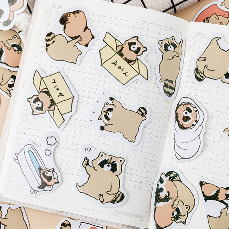 45Pcs/Box Kids Toy Stickers Cute Raccoon Sticker Catoon Animal Paper Stickers for Cellphone Decor Student DIY Diary Scrapbook