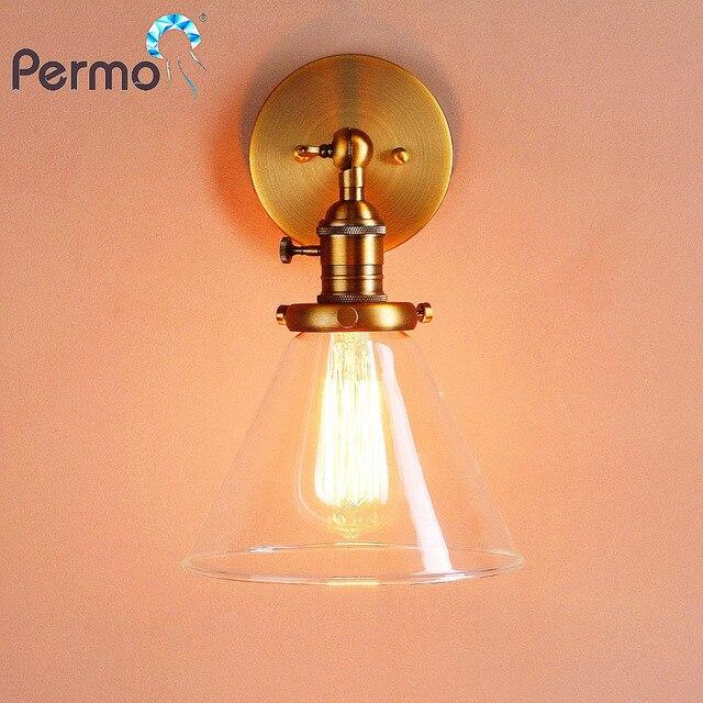 PERMO 7 2 Entonnoir En Verre Edison Mur Lampe antique en laiton