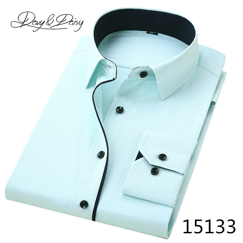 DAVYDAISY High Quality Men Shirt Long Sleeve Twill Solid Formal Business Shirt Brand Man Dress Shirts DS085 10