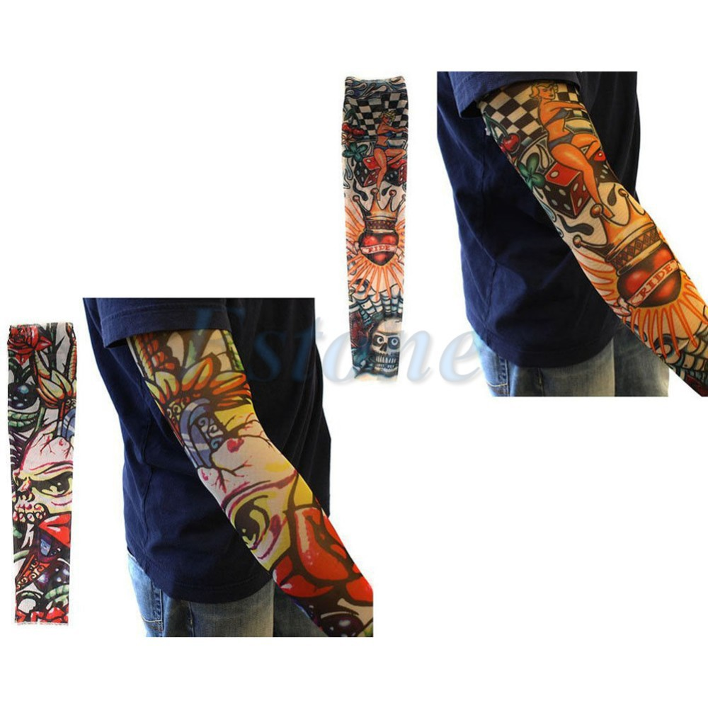 10pcs Fake Temporary Party Tattoo Slip On Sleeves Body Art Arm Covers Stockings For Men